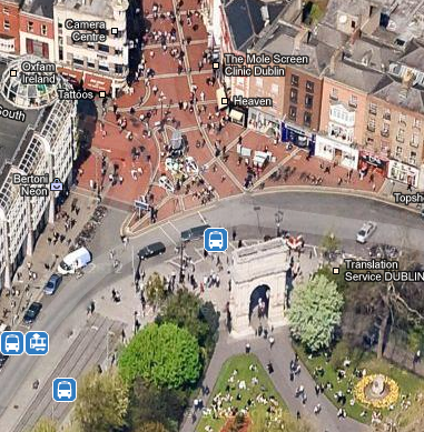 Grafton Street e l'ingresso a St. Stephen's Green, da Google Maps